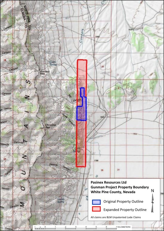 I:\Microsoft Office Documents\DATA\Pasinex Resources Limited\News Releases\2017\Pasinex Announces option to acquire 80% of the Gunman high-grade zinc (silver) project in White Pine County, Nevada\Draft\Gunman PR Figure.jpg